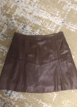 Трендовая кожаная коричневая юбка cream, новая!