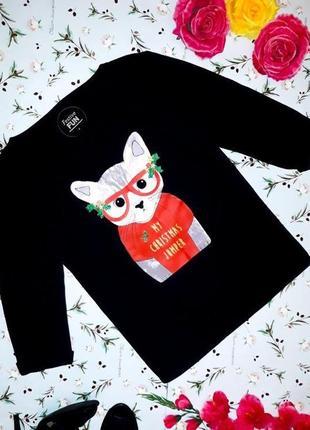 🌺 крутой черный свободный свитер оверсайз с котиком festive fun, размер 44 - 46