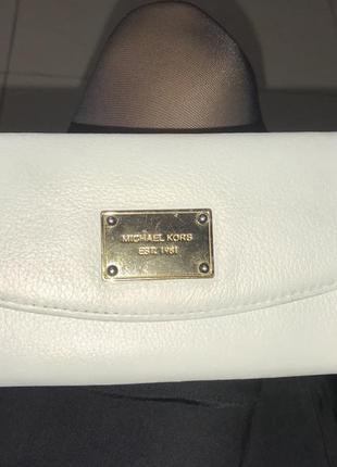 Кожанный кошелёк michael kors перламутровый молочный оригинал