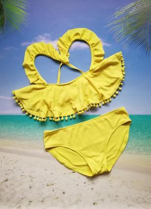 Жёлтый фактурный детский купальник 14 лет