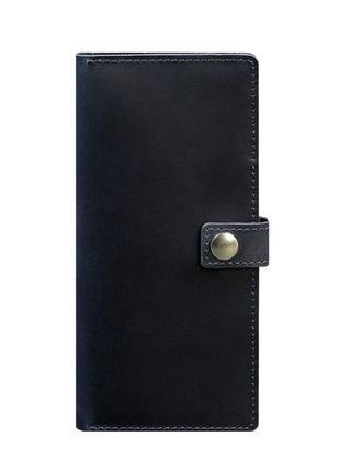 Кошелек на кнопке кожаный синий