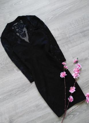Маленькое черное платье с кружевом river island