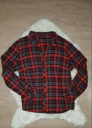 Рубашка в клетку красно-чёрная  brandtex collection