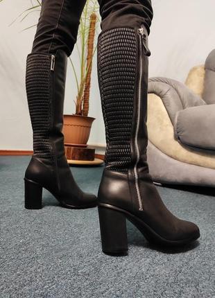 Черные кожаные зимние сапоги vitto rossi каблук