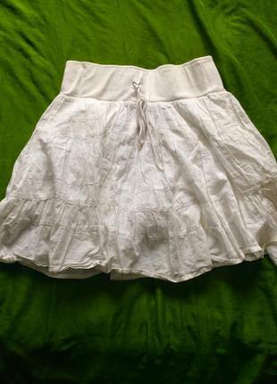 Белая хлопковая юбка-солнце mango 100% хлопок
