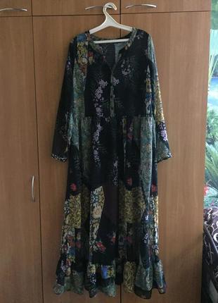 Шикарное шифоновое платье в пол в стиле бохо