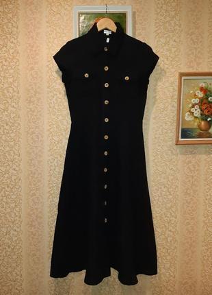 Роскошное длинное  черное льняное платье в ретро стиле от phase eight