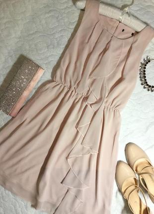 Платье шифоновое пудрового цвета размер м