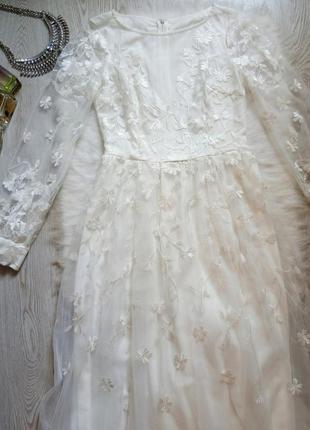 Белое длинное шелковое в пол нарядное вечернее свадебное платье с фатином вышивка рукава