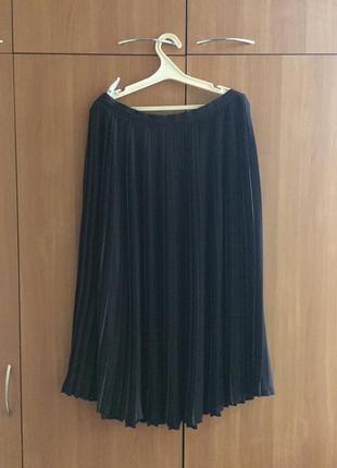 Шикарная шифоновая юбка плиссе темно коричневого цвета большой размер next