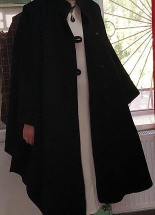 Пончо пальто кейп балахон шерсть черный