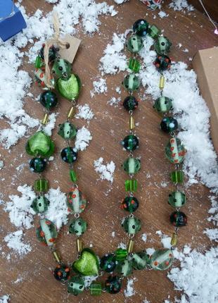 Намисто бусы стекло зеленое длинные
