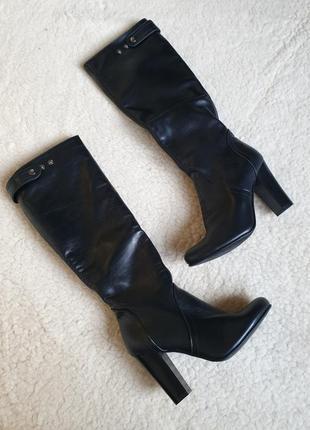 Удобные кожаные сапоги на квадратном каблуке натуральная кожа