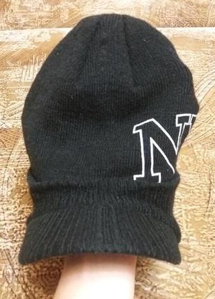 Тёплая вязаная кепка new york, размер 54-56