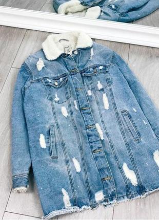 Удлиненная шерпа джинсовка джинсовая курточка куртка на меху утепленная