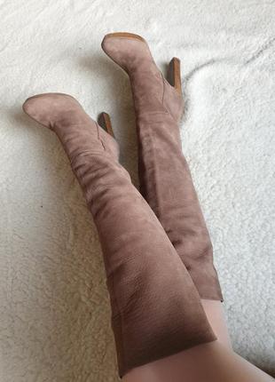 Шикарные качественные кожаные испанские сапоги натуральная кожа