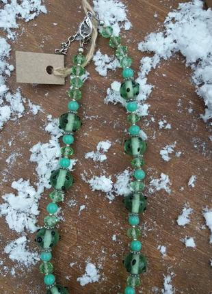 Кольє буси зелені скло