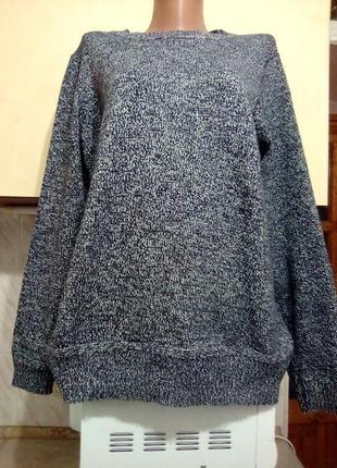 Плотный теплый свитер серый меланж bhs, хлопок, сост нового, поб до 75см