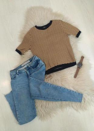 Теплый осенний свитерок - кроп топ: полосатый свитер, желтый топ pull & bear