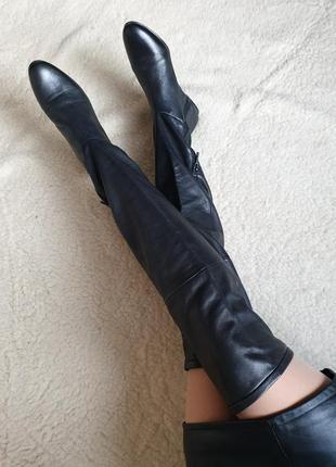 Шикарные качественные кожаные ботфорты сапоги натуральная кожа zara