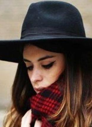 Трендовая чёрная шерстяная шляпа федора 100% шерсть