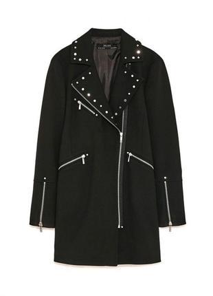 Тренч,пальто с заклепками zara