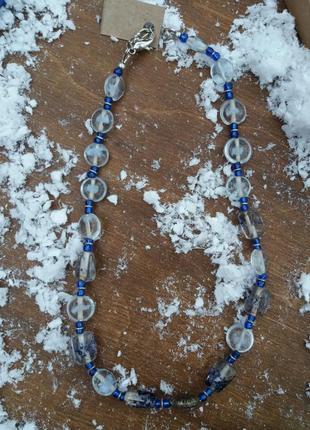 Скляні сині білі буси