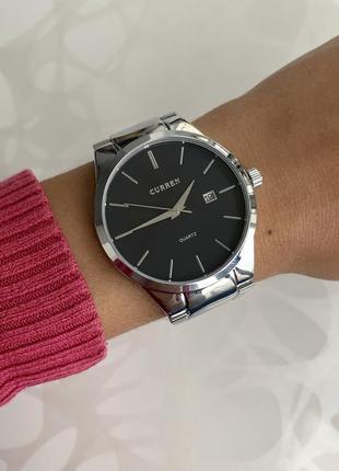 Женские металлические часы curren каррен серебристые с черным с датой
