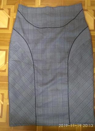 Юбка на подкладе с кожаными вставками ( ободки)