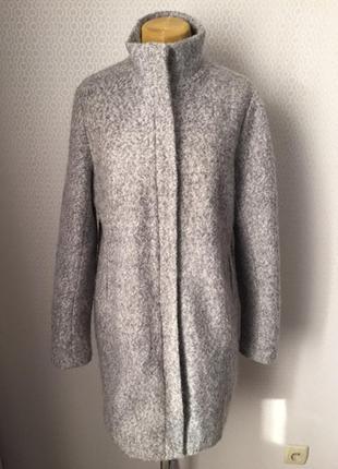 Полушерстяное лаконичное пальто из ткани типа букле, бренд miss etam, размер xxl