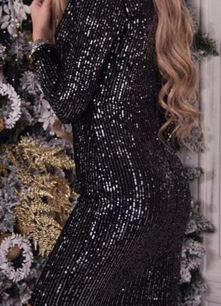 Новогоднее черное платье с серебристой паеткой