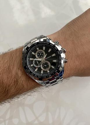 Мужские металлические часы curren каррен серебристые с черным