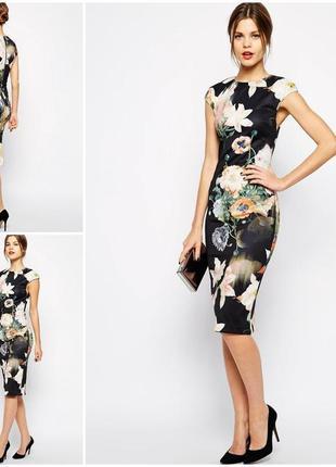 Роскошное нежно черное платье миди в цветы от ted baker