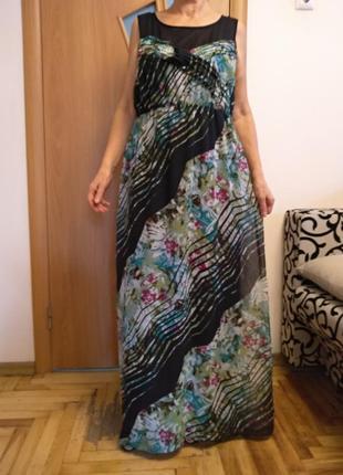 Красивое цветное шифоновое платье в пол. размер 16-18