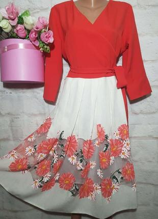 Платье миди  шикарное нарядное  пышная юбка р 18 miss diamond