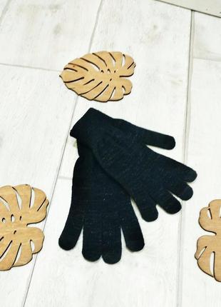 """Перчатки женские трикотажные черного цвета с люрексовой нитью """"blue motion""""."""