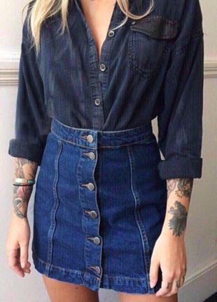 Юбка на пуговицах / джинсовая юбка