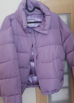 Куртка зимняя пуффер pull&bear оригинал оверсайз сиреневая пуховик на синтепоне