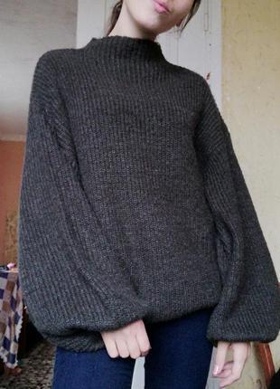 Шикарный свитер кофта amisu под горло с объемными рукавами джемпер пуловер