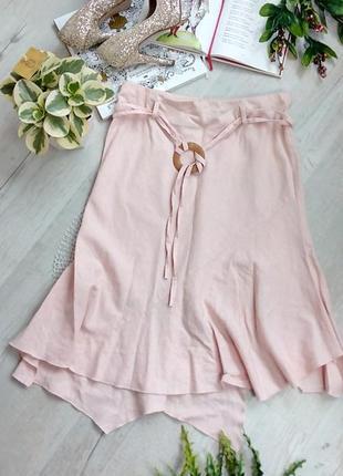 Актуальная асимметричная оригинальная юбка розовая миди лен и вискоза на резинке