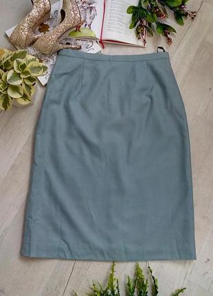 Офисная синяя голубая юбка на каждый день миди с подкладкой актуальная фирменная