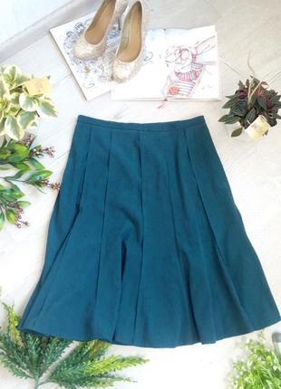 Юбка нереально красивого сине зеленого цвета изумрудная синяя зеленая миди плотная тёплая