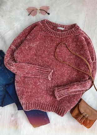 🌿 вязаный велюровый свитер stradivarius | бархатный джемпер цвет пудра