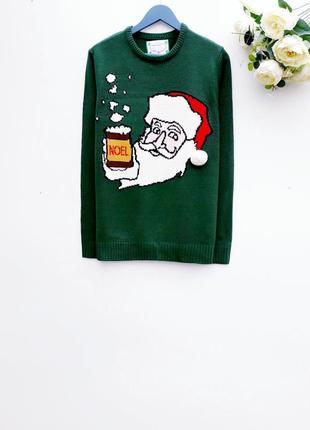 Новогодний свитер красивый праздничный свитер с дедом морозом
