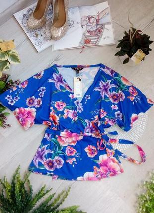 Новая кофточка блузка синяя с цветами яркая праздничная теплая фирменная актуальная