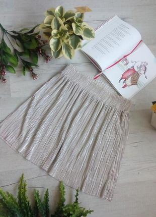 Серебристая короткая мини юбка плиссировка мелкая на новый год фотосессию вечеринку