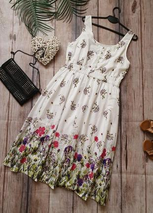 Натуральное хлопковое летнее платье коттоновое миди с цветами