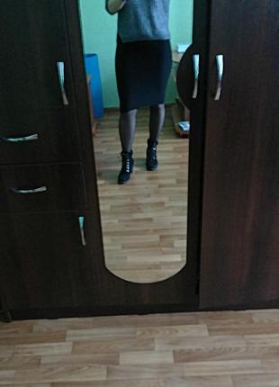 Трикотажная юбка, миди прямая, хлопковый трикотаж от украинского бренда goldi, с-м
