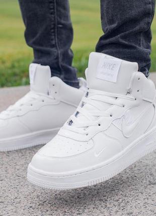 ✳️nike air force 1 off-white white✳️зимние мужские белые кожаные кроссовки найк с мехом