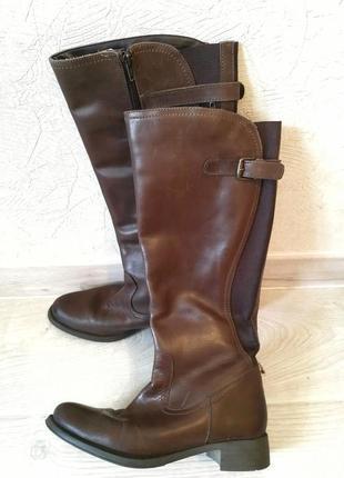 Кожаные идеальные высокие сапоги коричневые натуральные осенние испания 36 размер